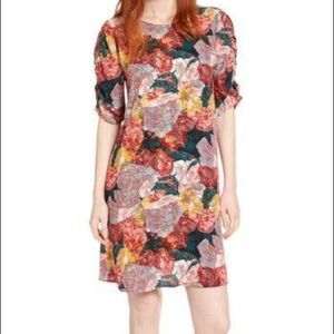 Halogen Ruched Sleeves Floral Crepe Dress.